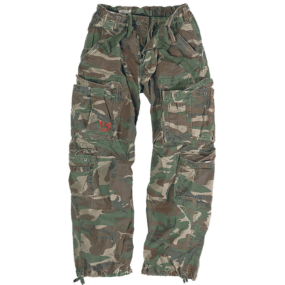 Mens Army Paratrooper Combat Cargo Baggy Work Trousers Pants Woodland Camouflage