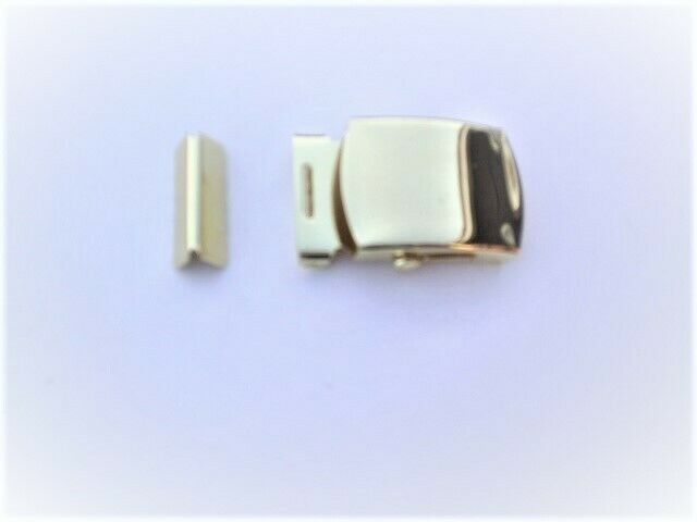 1 REPLACEMENT TROUSER BELT BUCKLES AND END TIP COLOUR GOLD