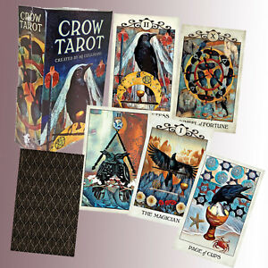 CROW-RAVEN-TAROT-by-MJ-CULLINANE-78-Cards-88Page-Guide-Booklet-FORTUNE-TELLING