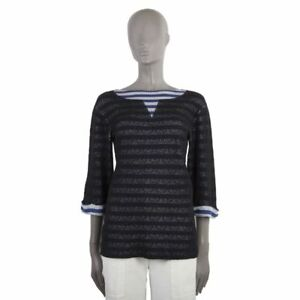 3d3407998 52630 auth CHANEL black white blue cotton STRIPED 3 4 Sleeve Sweater ...