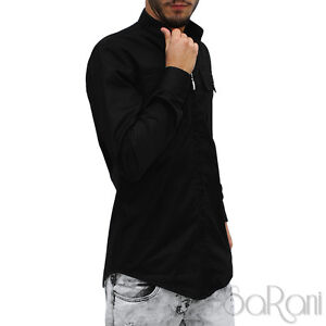Camicia-Uomo-Con-Cerniera-Collo-Coreano-Cotone-Casual-Swag-Fit-Manica-Lunga-Nera
