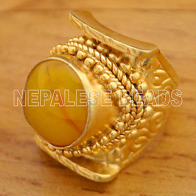 Yellow Resin Sterling Silver Gold Plated Saddle Ring 7.5 Tibetan Nepalese SS19