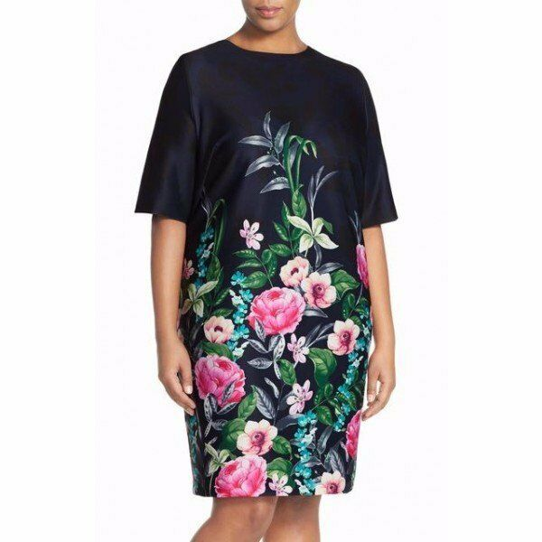 Eliza J Navy Multi Floral Scuba Print Elbow Sleeve Shift Dress 2 NEW E423