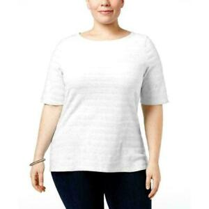 Charter-Club-Women-039-s-Plus-Size-Cotton-Textured-Top-Bright-White-1X