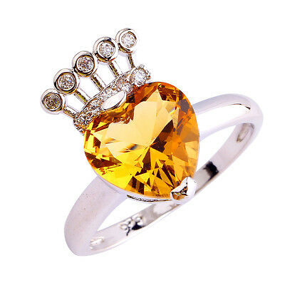 Heart Cut Women Morganite & White Topaz Gemstone Silver Ring US Size 7 8 9 10 11
