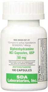 SDA Laboratories Diphenhydramine 50mg Capsules (Sleep Aid & Antihistamine) 100ct