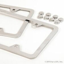 2 Wide Chrome Silver Plain Metal License Plate Frame Car Truck Auto Cover Holder