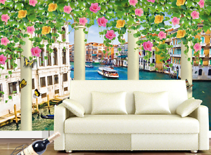 3D Venice Flowers 269 Wall Paper wall Print Decal Wall Deco Wall Indoor Murals