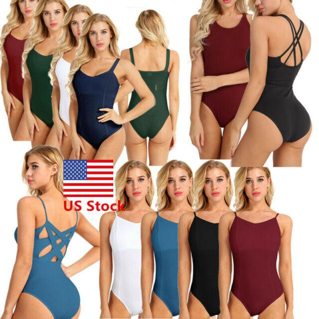 Women Ladies One Piece Ballet Gymnastics Dance Skate Leotard Yoga Bodysuit S-XXL