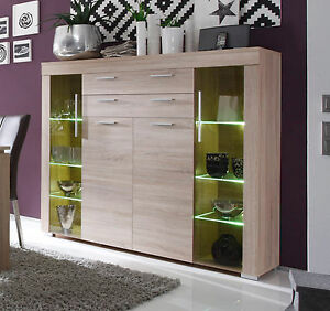 highboard boom kommode sonoma eiche wohnzimmer schrank vitrine mit beleuchtung ebay. Black Bedroom Furniture Sets. Home Design Ideas