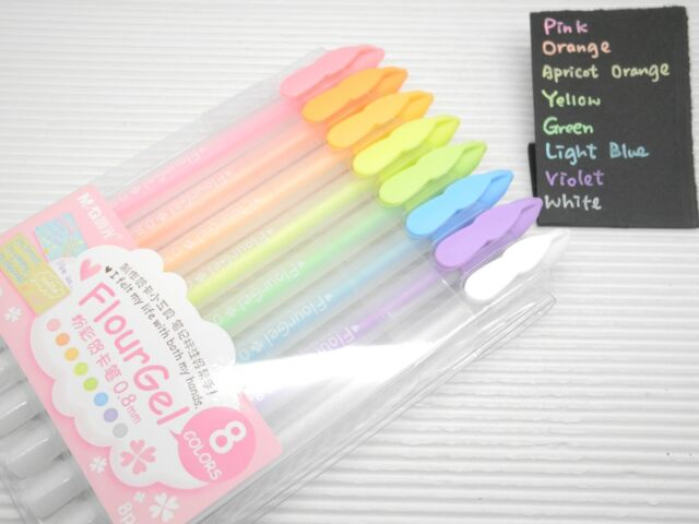 ShangHai M&G Flour Gel 0.8mm Rollerball Pens for Dark Paper Decoration, 8 Colors