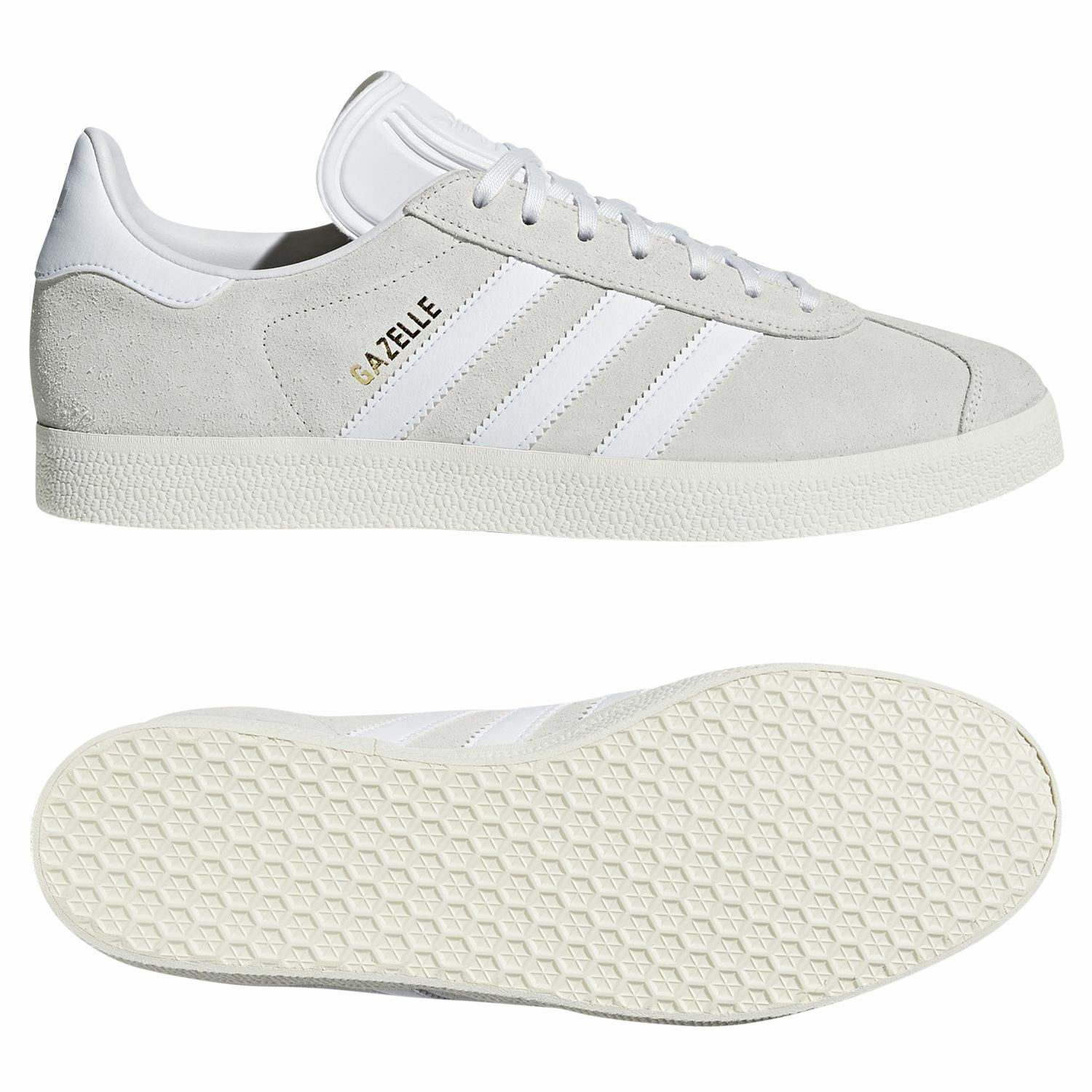 Adidas ORIGINALS MEN'S GAZELLE TRAINER WHITE SNEAKERS SHOES SMART CASUAL RETRO