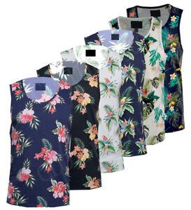 Mens-Hawaiian-Fashion-Floral-Vest-Casual-Cotton-Summer-Top-S-XXL
