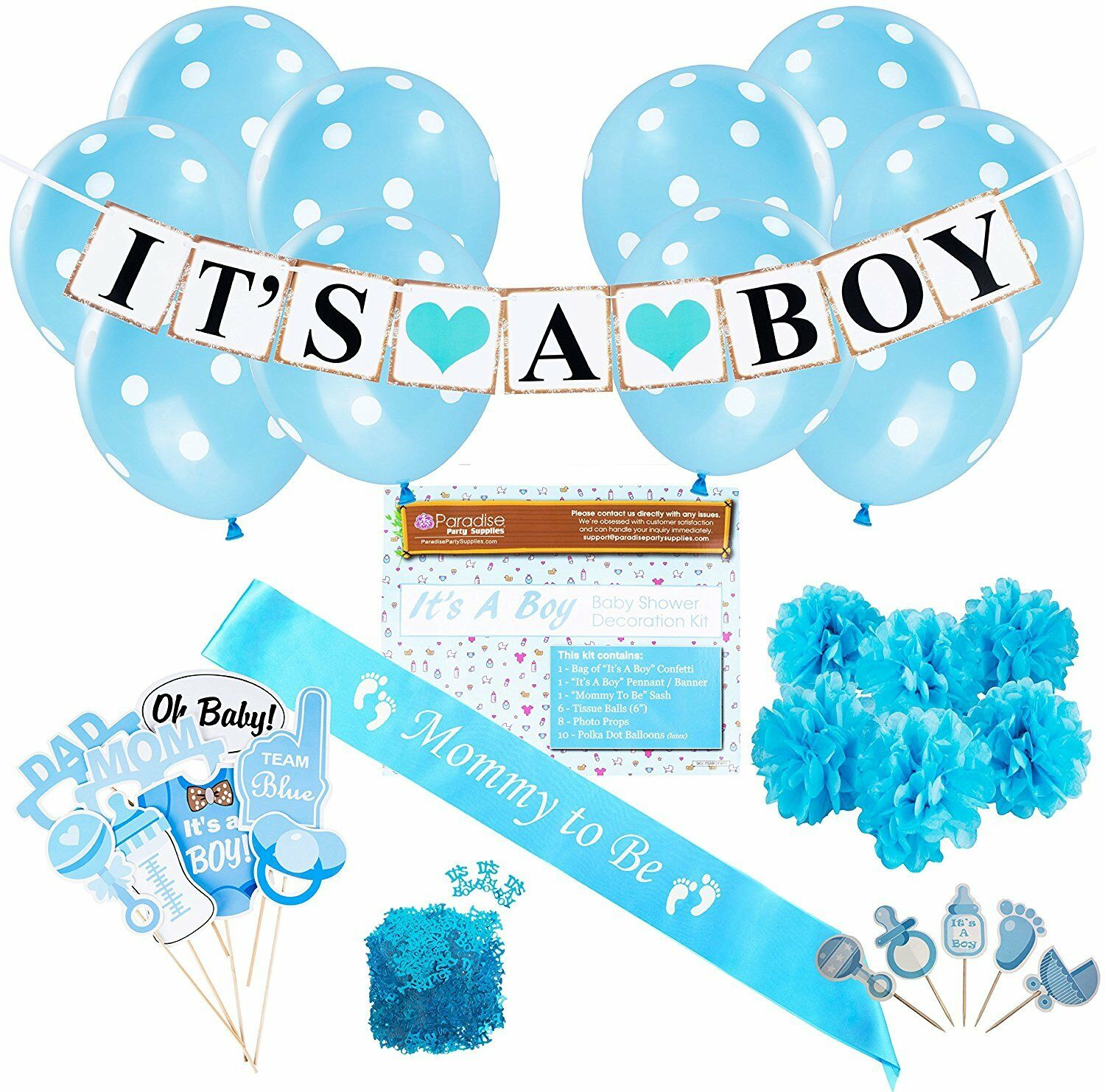 Baby Shower Party Decorations Kit  It'S A Boy bleu Theme Welcome Supplies For Ba