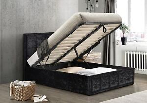Incredible Details About Hannover Ottoman Bed Frame 4Ft6 135Cm Double Storage Black Crushed Velvet Fabric Bralicious Painted Fabric Chair Ideas Braliciousco