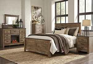 Modern Rustic Brown W Fireplace Bedroom Furniture 5pcs King