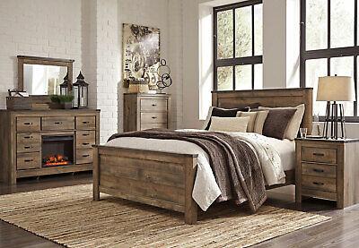 Modern Rustic Brown w. Fireplace Bedroom Furniture - 5pcs King Size Bed Set  IA2F | eBay