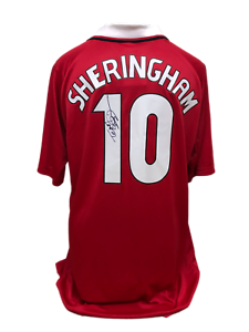 TEDDY SHERINGHAM SIGNED MANCHESTER UNITED CHAMPIONS LEAGUE FINAL 1999 SHIRT