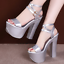 Womens Platform Ankle Strap High Block Heel Sandals Slingback Party Prom Shoes