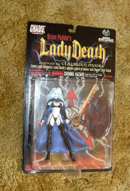 LADY DEATH Action Figure 1997 CHAOS Comics MOORE Collectibles NOS MIP NEW RARE