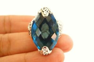 London-Blue-Topaz-Solitaire-Statement-Ornate-Sterling-Silver-Ring-Size-7-8-9