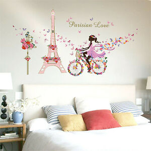 New-DIY-Flower-Fairy-Eiffel-Tower-Bike-Removable-Wall-Sticker-Home-Room-Decor
