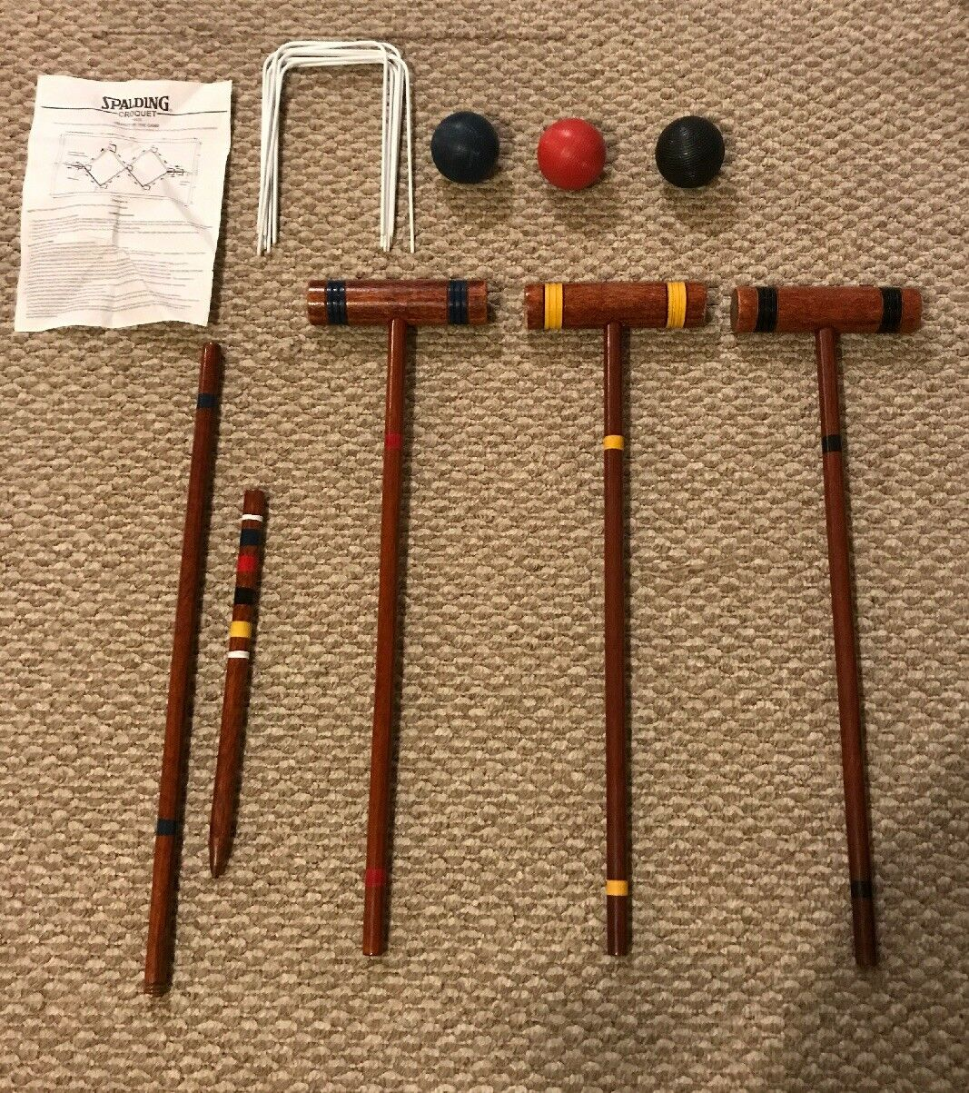 Spalding 3 Player Dark Wood  Croquet Set With Carry Bag Outdoors Game  large selection
