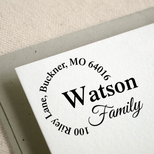 R458 Personalized Custom Name Returned Address Handle Mounted Rubber Stamp