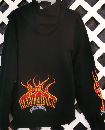 NWT HARD CHROME GEAR DRAGONFLY EMBROIDERED BIKER JACKET HOODIE M L or XL