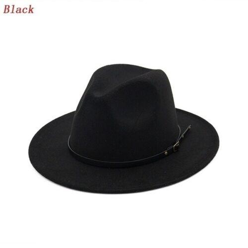 Femmes Hommes Large Feutre Trilby FEDORA jazz large bord chapeau vintage Cap Noir Marron