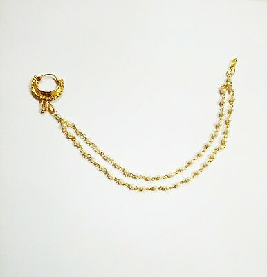 Indian Ethnic Bridal Gold Tone Nathni Nose Ring Nath Pearl Chain