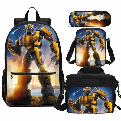 Galaxy Transformer Bumblebee Schoolbag 4PC Backpack Lunch Bag Crossbody Pen Bag