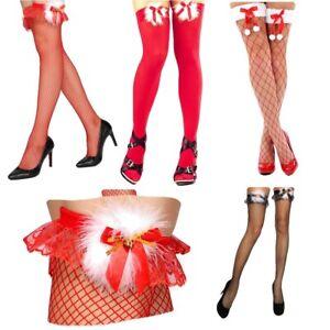 krautwear-Rote-od-Schwarze-Weihnachts-XMAS-Struempfe-Mit-Schleife-Und-Gloeckchen