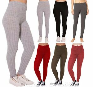 another chance presenting promotion Details about Womens LadiesWinter Plain Warm Thick Chunky Cable ribbed  knitted leggings 8-26