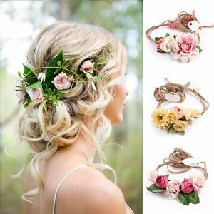 Boho-Style-Flower-Floral-Women-Hairband-Headband-Crown-Party-Bride-Wedding-Beach