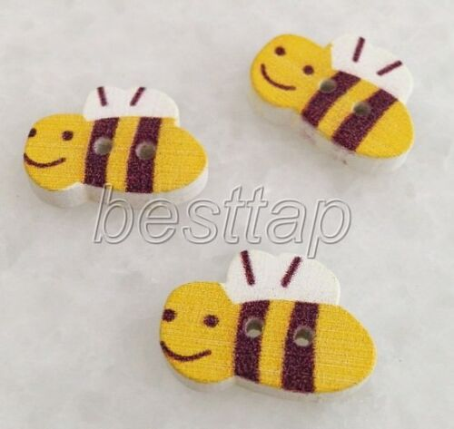 40pcs Mixed Color Animals Bee Shape Wooden Buttons Fit Sewing//Scrapbook snk806
