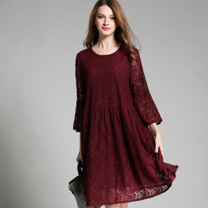 Spring-new-Plus-size-A-line-Lace-dresses-Crew-Neck-3-4-sleeve-Elegant-dress12-22