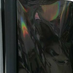 Half Yard Black Holographic Leather Fabric Terry Backing
