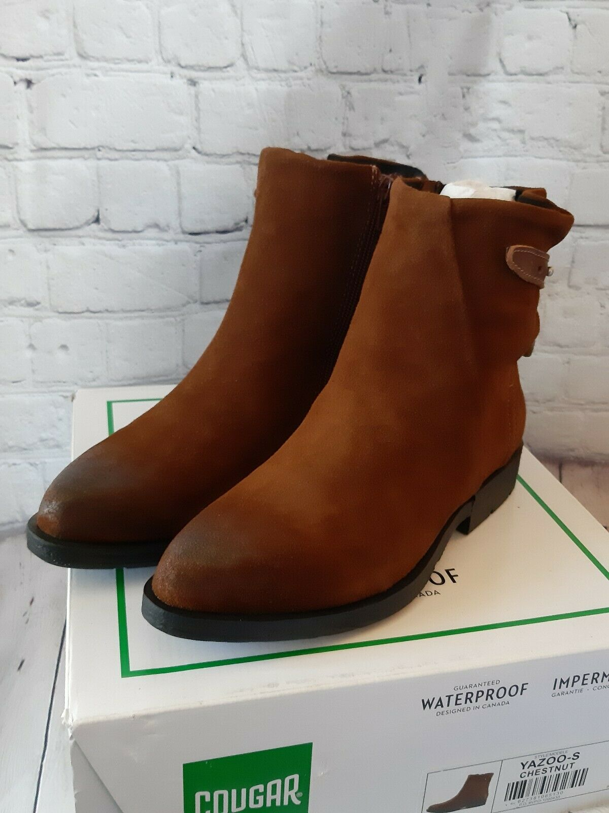 Cougar Yazoo-S Brown Leather Waterproof Ankle Boot Womens 7 New In Box Cushioned