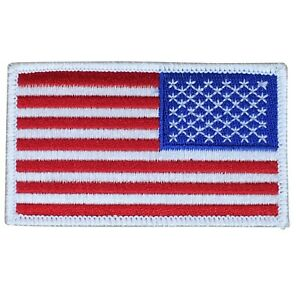 Reverse USA American Flag Patch Iron on Right Shoulder