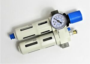 1-4-034-FESTO-Type-Compressed-Air-Filter-Regulator-amp-Lubricator-With-Pressure-Gauge