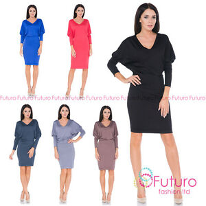 Details About Ladies Smart Casual Office Party Long Sleeve Batwing Knee Length Dress 8217