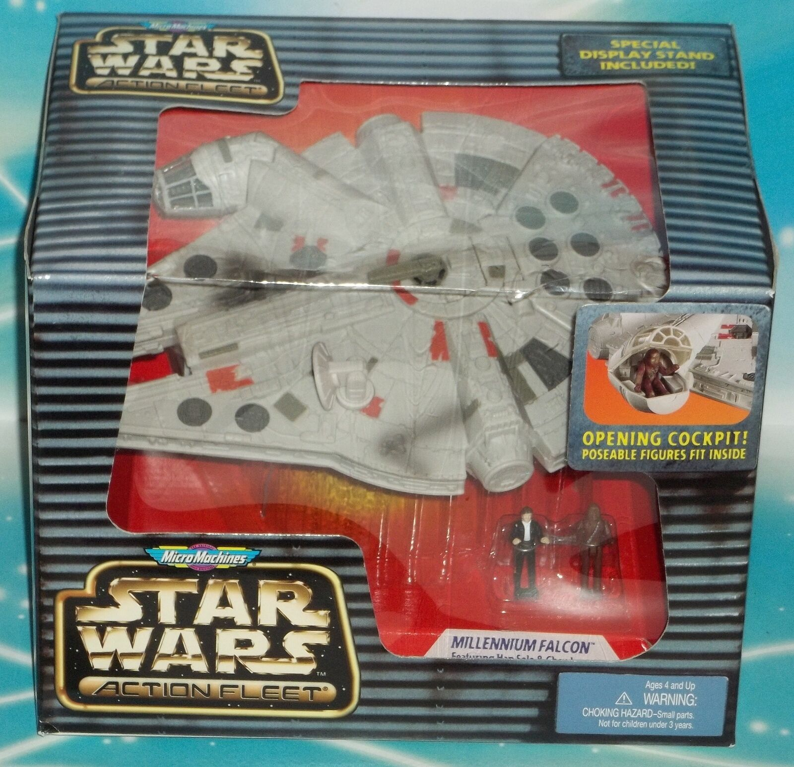 STAR WARS ACTION FLEET MILLENNIUM FALCON SHIP WITH HAN & CHEWBACCA      E B