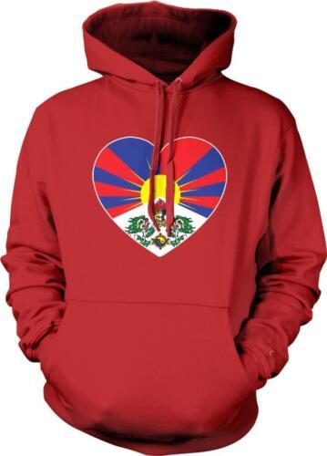 Snow Lion Free Tibet Heart Flag Tibetan Pride Independence Hoodie Pullover