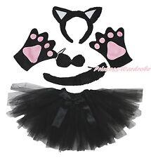 Halloween Party Black Cat Kid Headband Ear Claw Paw Tail Bow Gauze Skirt Costume