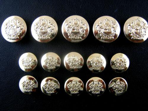 de 21 mm-Con Caña Oro Plástico Crestado Blazer Botones de 18 mm 3 Tamaños De 15 Mm