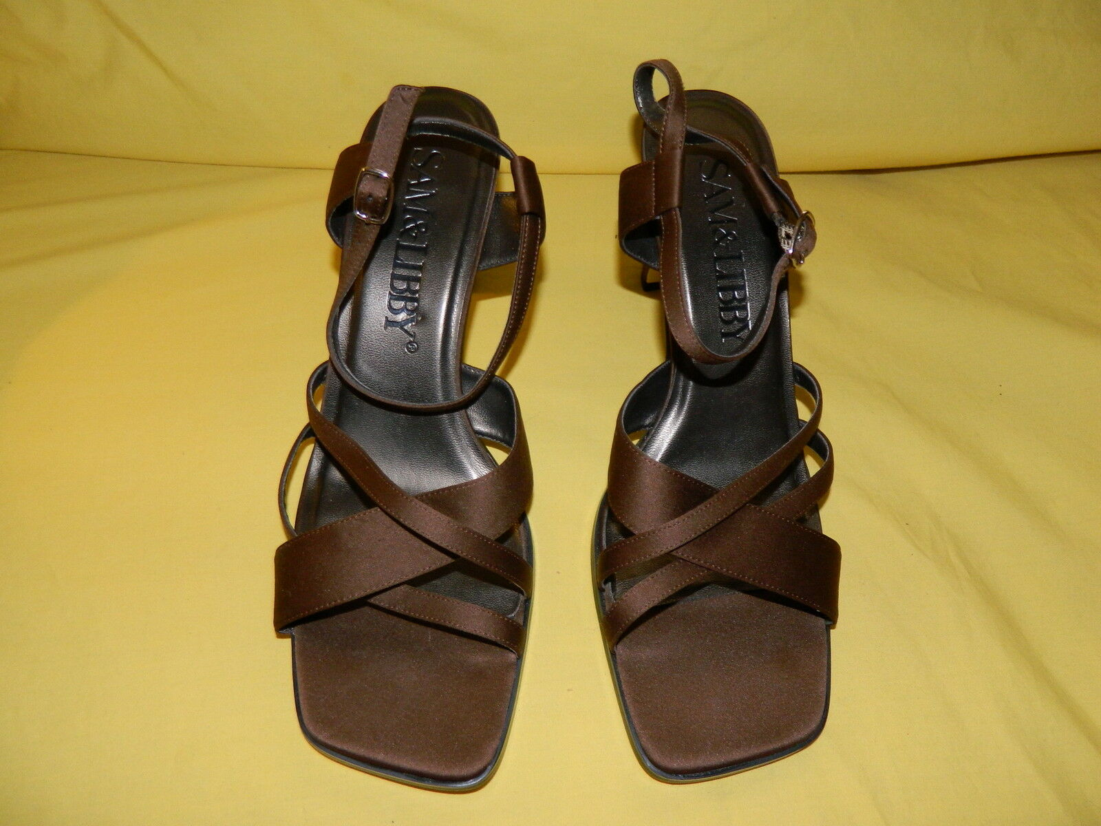 SAM & LIBBY 10M SLINGABCKS SANDALS DARK BROWN 10M LIBBY NWOB c32906