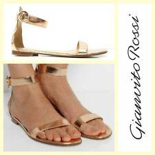 Gianvito Rossi $645 Portofino metallic rose gold leather flat sandals~39.5