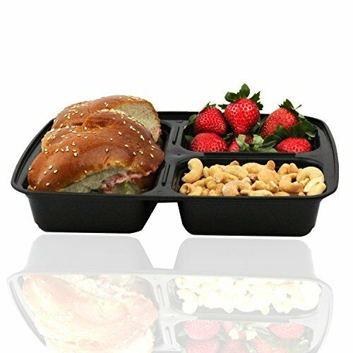 3 Compartment Bento Box Lunch Containers with Lids 10 Pack Meal Prep For Kids