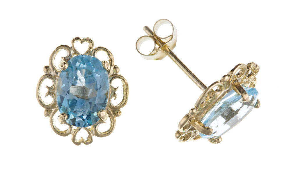 bluee Topaz Earrings Heart Design Stud Solid 9 Carat Yellow gold Studs